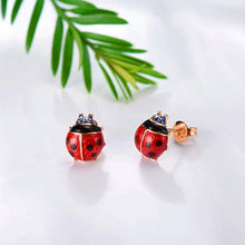 Load image into Gallery viewer, Stud Earrings Red Ladybug Black Spots  Gold Plated  Post Stud Ladybird Earrings Jewelry Accessories for Women and Girl