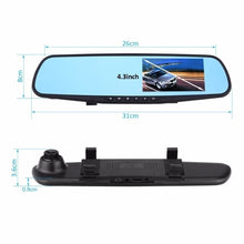 Load image into Gallery viewer, 1080P HD Dual Lens Car DVR Dash Video Cam Mirror Recorder LCD Screen 170 Degree Rear View Camera Night Vision Driving Recorder