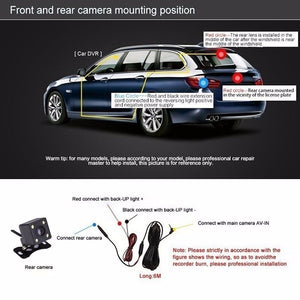 1080P HD Dual Lens Car DVR Dash Video Cam Mirror Recorder LCD Screen 170 Degree Rear View Camera Night Vision Driving Recorder