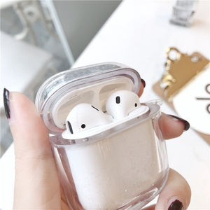Gorgeous Quicksand Transparent Apple Airpods Case Cover