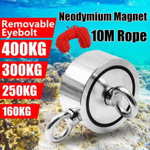 Load image into Gallery viewer, (10M Rope For Free) Neodymium Fishing Magnets (Double-Sided Magnetic) Round Neodymium Magnet with Eyebolt, Combined 400KG/300KG/250KG/160KG Pulling Force, Magnet for River or Lake Fishing.