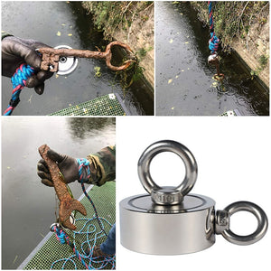 (10M Rope For Free) Neodymium Fishing Magnets (Double-Sided Magnetic) Round Neodymium Magnet with Eyebolt, Combined 400KG/300KG/250KG/160KG Pulling Force, Magnet for River or Lake Fishing.