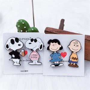 1Pc Cartoon Snoopy Metal Enamel Brooches Pin for Backpack Bag Jeans Clothes Badge Pins Jewelry