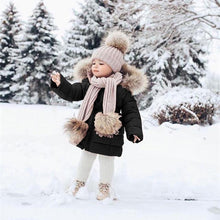 Load image into Gallery viewer, Baby Kids Fashion Winter Warm Outerwear Girls Casual Down Jacket Toddler Child Fur Collar Long Sleeve Hooded Long Coat Clothing Girl Pure Color Waist Thick Coat