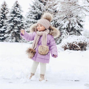 Baby Kids Fashion Winter Warm Outerwear Girls Casual Down Jacket Toddler Child Fur Collar Long Sleeve Hooded Long Coat Clothing Girl Pure Color Waist Thick Coat