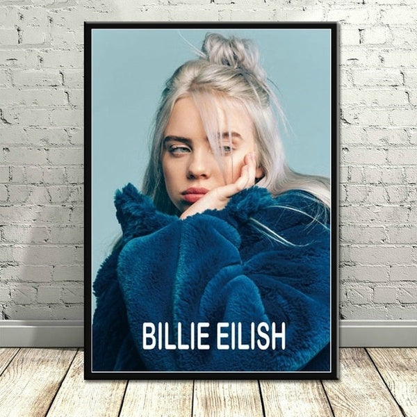 Frameless Billie Eilish Poster Music Singer Posters and Prints Canvas Painting Wall Art Picture for Living Room Home Decor