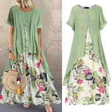 Load image into Gallery viewer, Plus Size Short Sleeve Round Neck Floral Print Patchwork Retro Loose Maxi Dresses