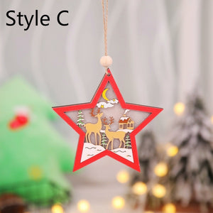 Creative Led Light Christmas Tree Hanging Pendant Star Car Heart Wooden Ornament Christmas Xmas Party New Year Decoration