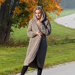 Women's Long Knitted Hooded Cardigan Sweaters Coat Winter Warm Casual Long Sleeve Hooded Cloak Plus Size Strickjacke Damen