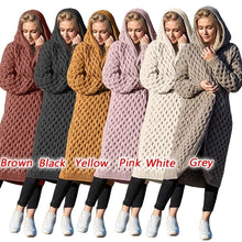 Load image into Gallery viewer, Women's Long Knitted Hooded Cardigan Sweaters Coat Winter Warm Casual Long Sleeve Hooded Cloak Plus Size Strickjacke Damen