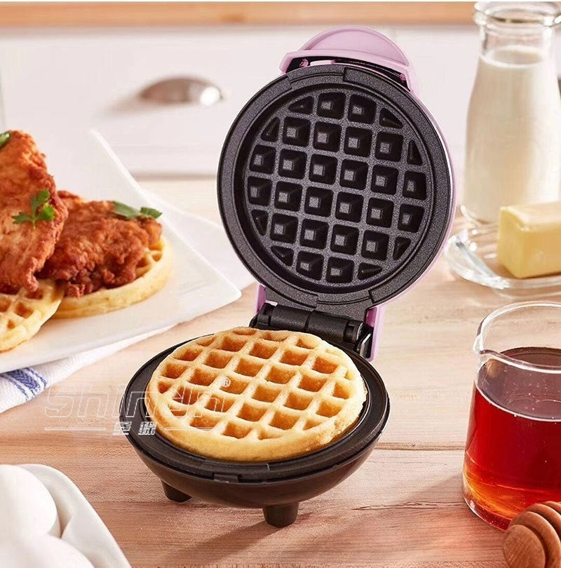The Mini Waffle Maker Machine,  Electric Round Griddle for Individual Pancakes, Cookies, Eggs & other on the go Breakfast, Lunch & Snacks with Indicator Light