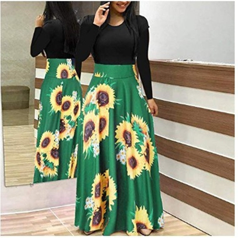 Women Fashion Floral Maxi Dresses Long Sleeve Dresses Printed Loose Dresses 4 Colors Plus Size:S-5XL