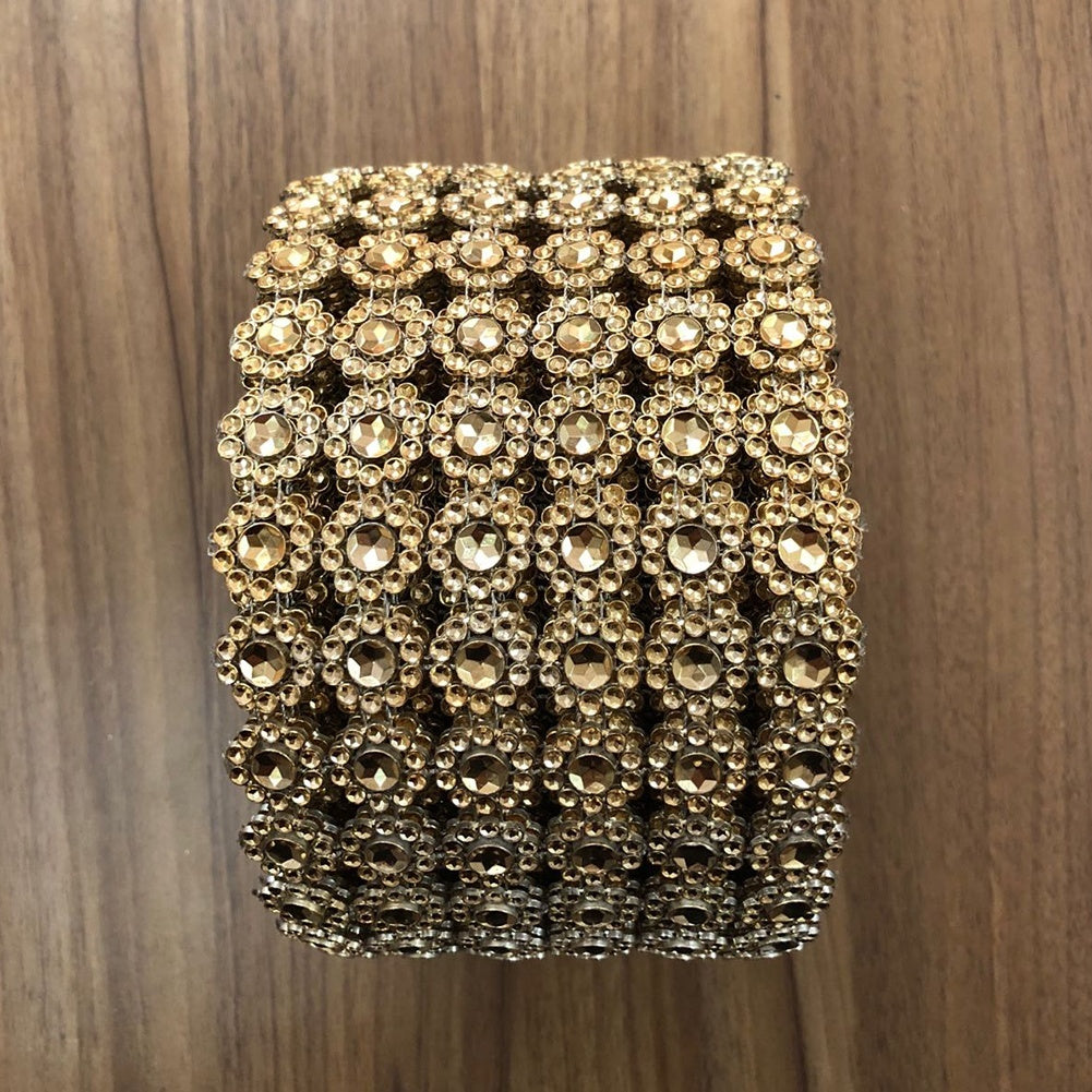 1 Roll Decorative Sunflower Mesh Wrap Crystal Rhinestone Sparkle Ribbon
