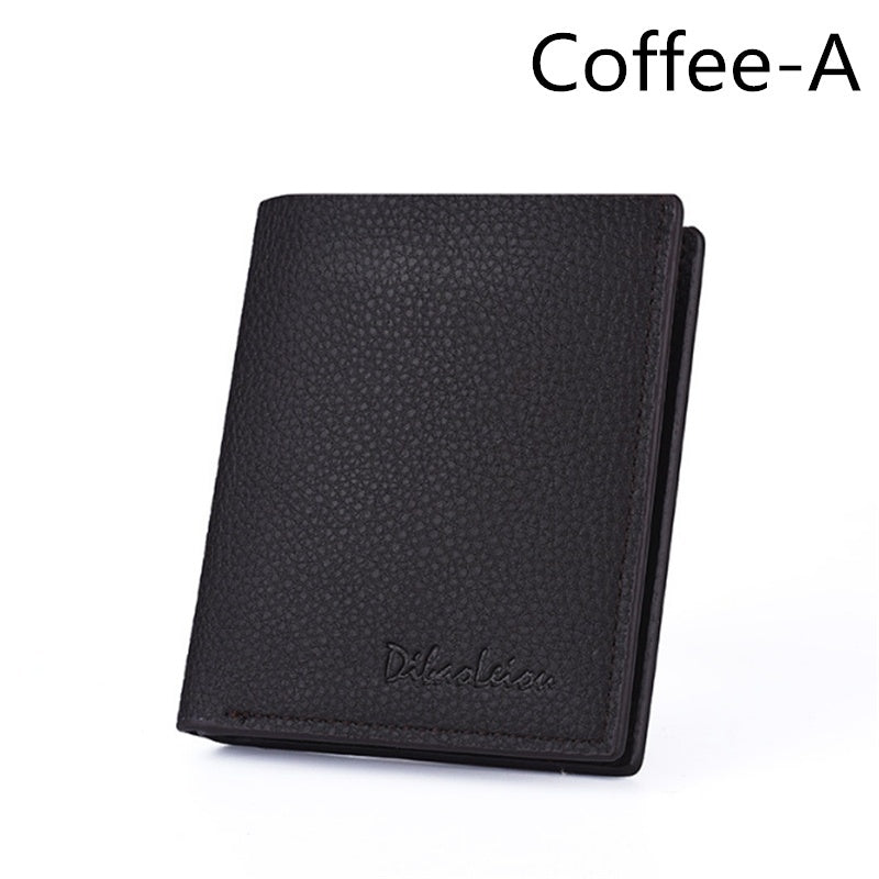 Brief Design RFID Blocking Mens Bifold Leather Credit Card Holder Wallet Business Front Pocket Billfold Travel Coin Purse with ID Window