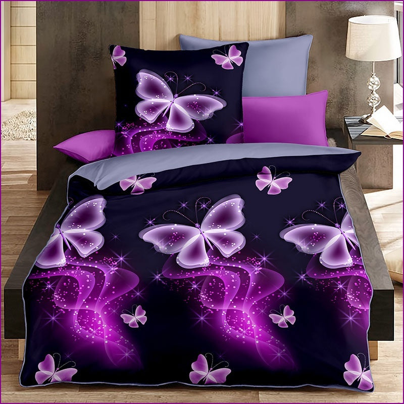 Asarom Luxury Purple Butterfly Bedding Set Beautiful 3D Bedding Set Duvet Cover Set (Without Bed Sheet)
