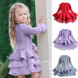 Kids Dress Winter New Purple Solid Color Chiffon Long Sleeve Sweater Knitted Warm Dress for Casual Birthday New Year Christmas