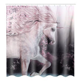 1/3/4pcs HY611 Heavenly Horse Printing Bathroom Shower Curtain Set Toilet Mat
