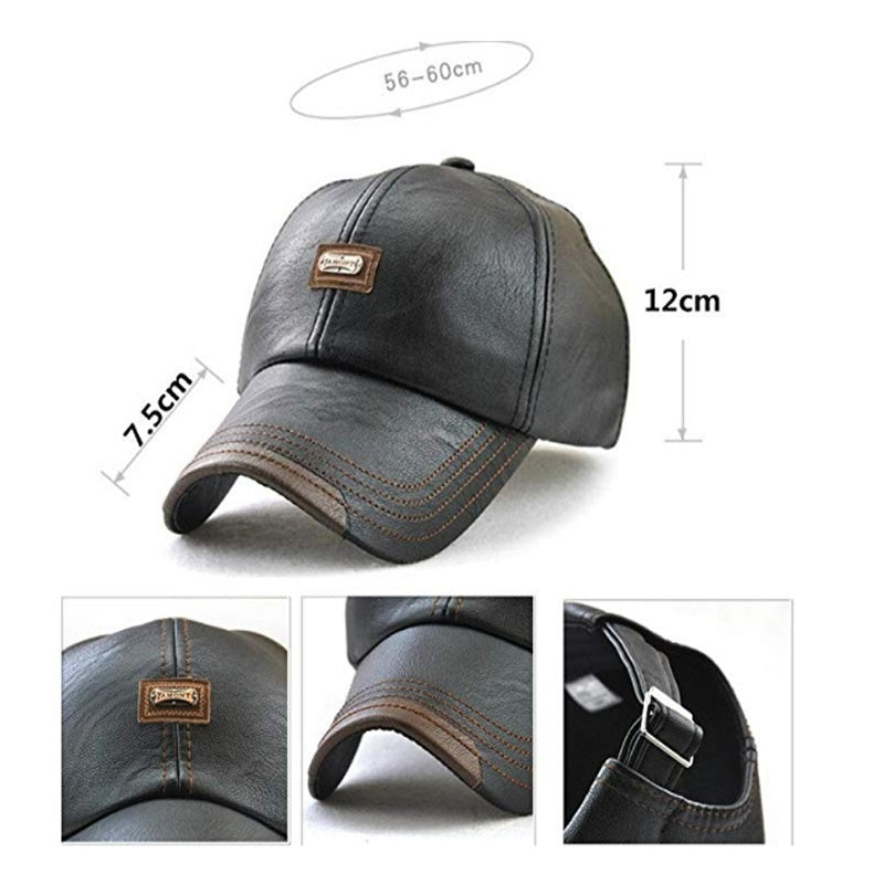 Fashion Autumn Winter PU Leather Men's Baseball Cap Outdoor Windproof Sports Cap Adjustable Hat Casquette