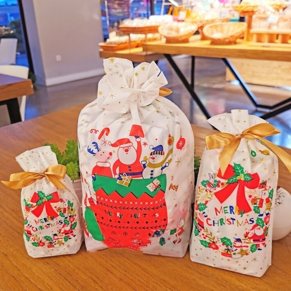 Christmas Party Gift Drawstring Packing Candy Bags cookie Present Two-sided printed