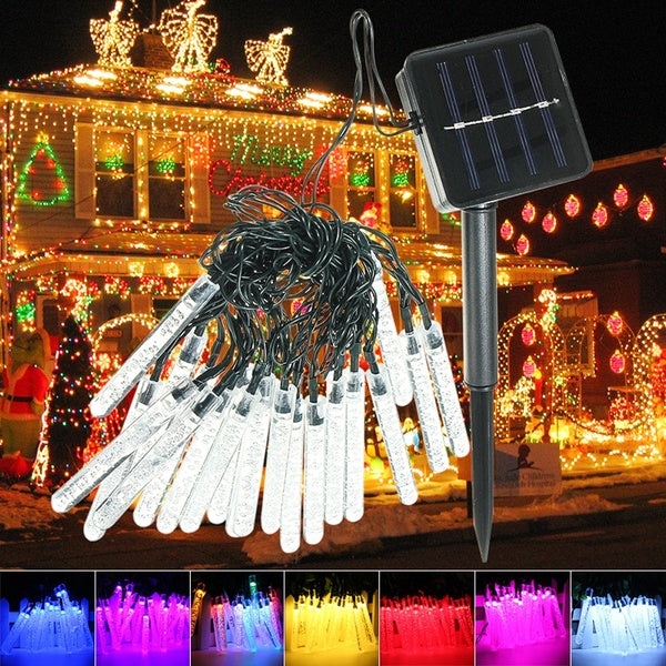 Outdoor  20 LED Ice Piton Lamp Solar Christmas LED String Lights Wedding Party Decoration Light