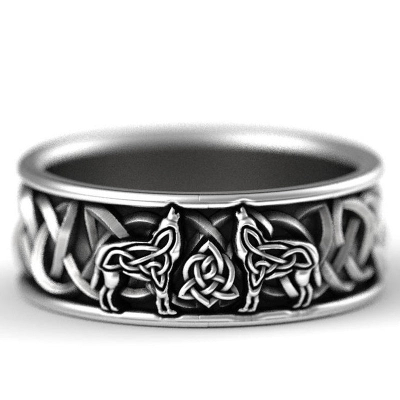 Men's 316L Stainless Steel Ring Nordic Mythology Viking Celtic Compass Wolf Ring Steampunk Jewelry for Cyclists