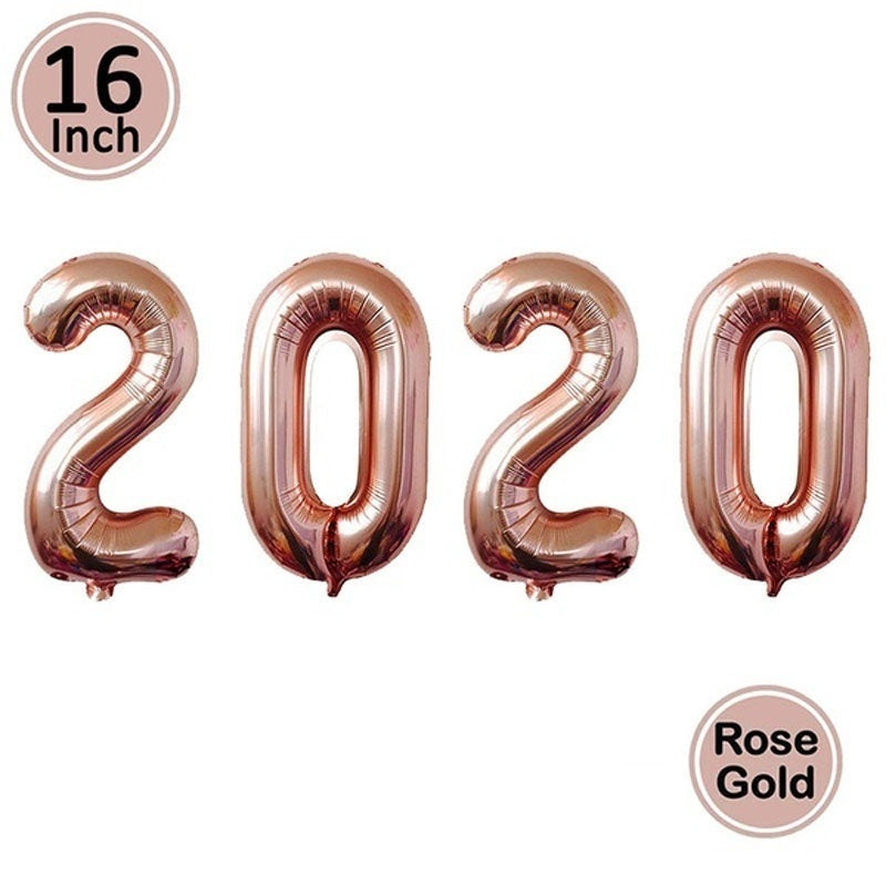 16inch Number 2020 Balloons Happy New Year Merry Christmas Letter Eve Decor 2019 Christmas Foil Ballon Decoration Rose Gold Silver Supplies