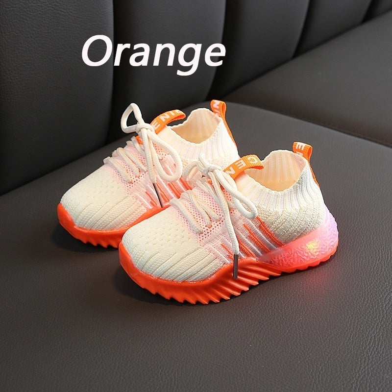 New Hip Hop Trend Children's Casual Mesh Breathable Sports Shoes Children Boys and Girls Breathable Mesh Sports Shoes 21-25