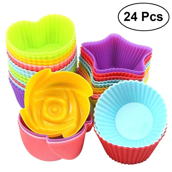 24Pcs Silicone Muffin Baking Cups Silicon Cupcake Liners Non-Stick Cake Molds