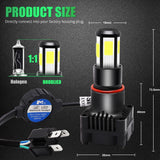 Motorcycle H4 LED Headlight Bulb Hi-Lo Beam 45W 5000LM COB Chip Motorbike Scooter Moto Universal Front Headlamp Driving Light