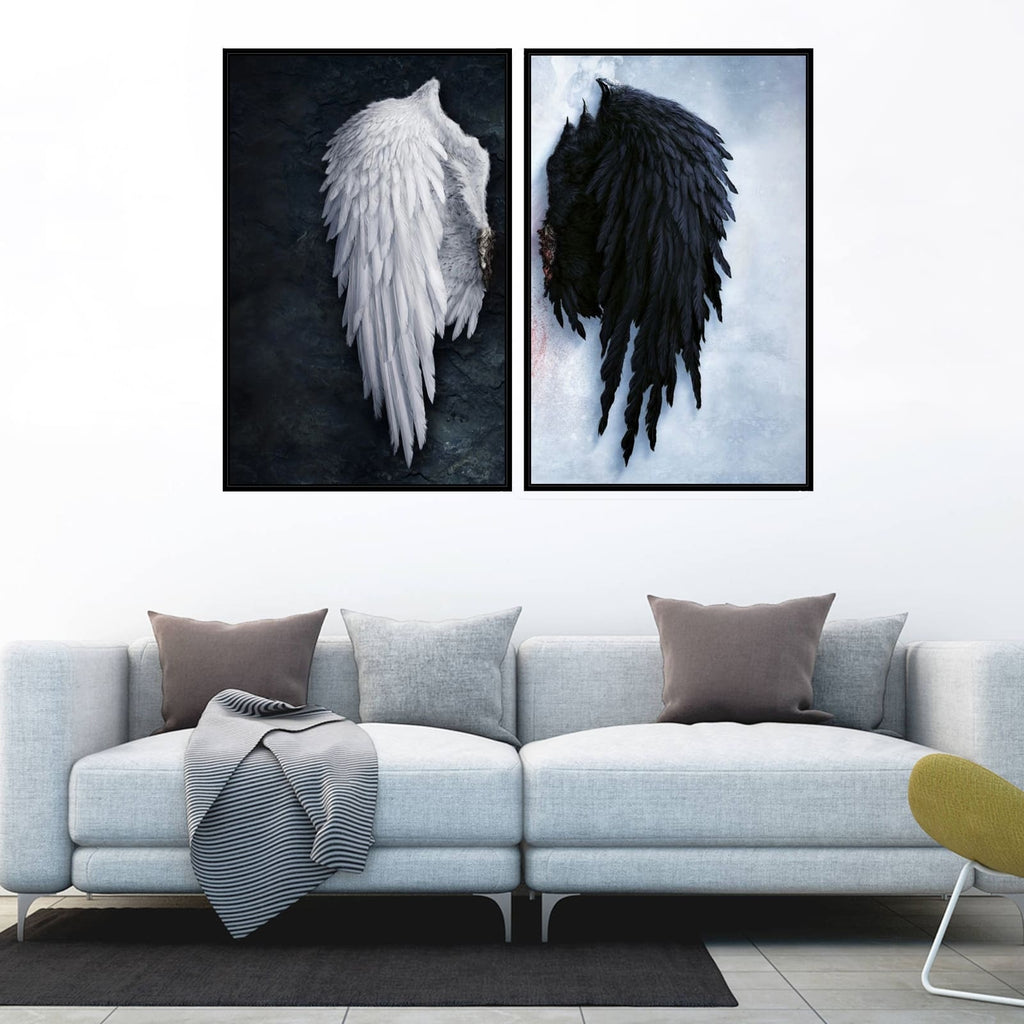 5 Size White&Black Angel Wings HD Print Oil Painting on Canvas Realism Fashion Wall Art Home Decor/Unframed