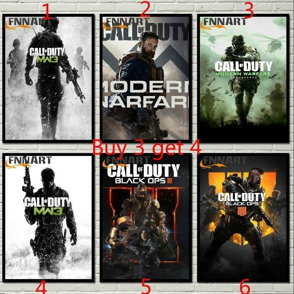 Unframed 1pcs Hot TV Game Call of Duty Vintage Poster Yellow Kraft/White kraft Retro Poster BedRoom Wall Sticker Size 42x30cm