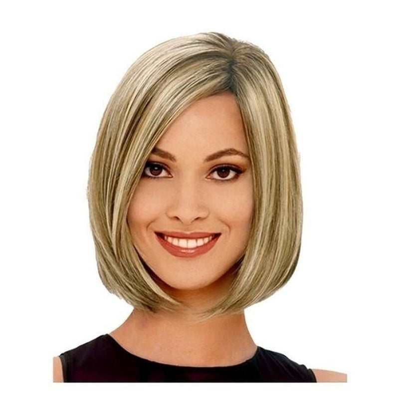 Gold Color Newest Style Short Straight Hair Bob Cut Wig for Women Heat Resistant Wigs