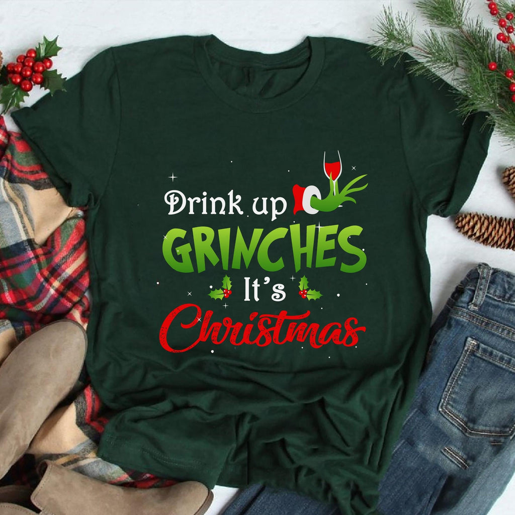 Women's Fashion Drink Up Grinches It's Christmas Letters Print Grinch Christmas T-shirt