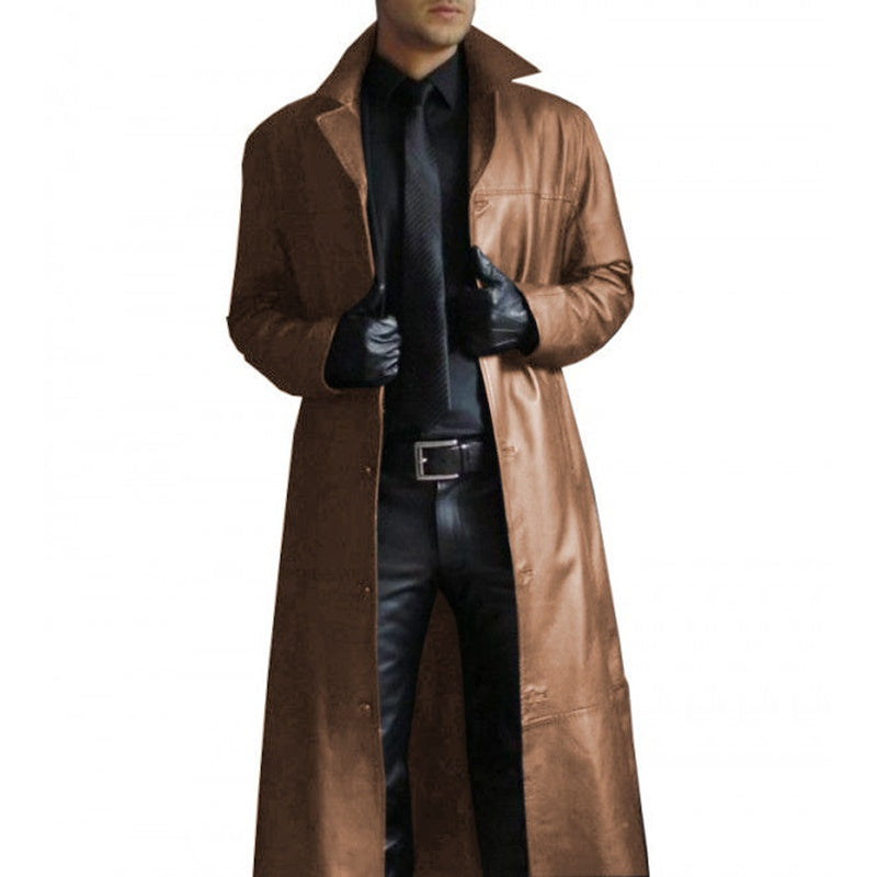 Mens Steampunk Lapel Leather Trench Coat Vintage Gothic Cape Cloak Coat Long Cardigan Leather Jacket Plus Size S-5XL