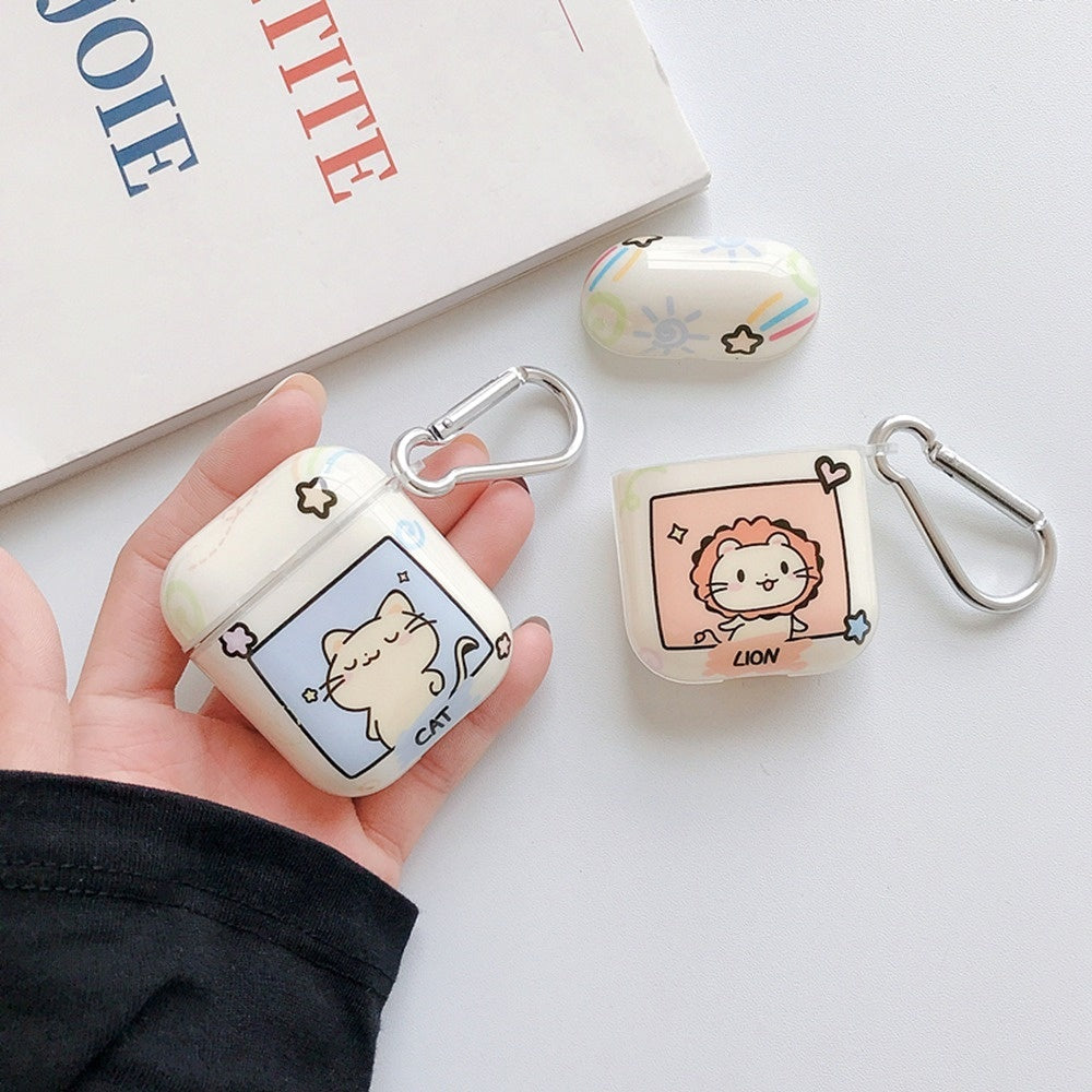 Cute Cat/Lion/Rabbit/Bear Cartoon Pattern Soft TPU Case Shell for Airpods 1/2