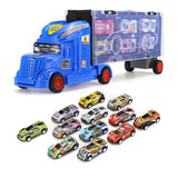 13/7 in 1 Carrier Truck Toy Set with 2xSliding track, Container Truck Pull Back Go Racing Car Vehicle Toys Boys