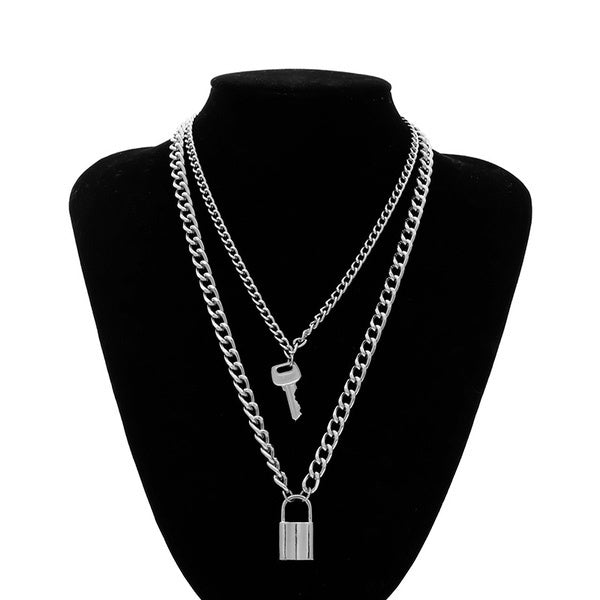 Punk Goth Double Layer Long Chain Lock Key Pendant Choker Necklace Jewelry Gift