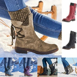 Women New Fashion Zipper Up Mid-calf Back Lace Boots Vintage Knitted PU Leather Flat Heel Anti-slip Snow Boots Winter Shoes For Women