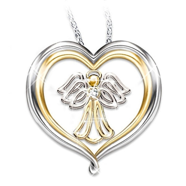 Exquisite Fashion Creative 925 Silver Love Angel Diamond Pendant Necklace Party Gift Fashion Accessories Gift for Mother Daughter Sister Grandmother Friends Best Jewelry