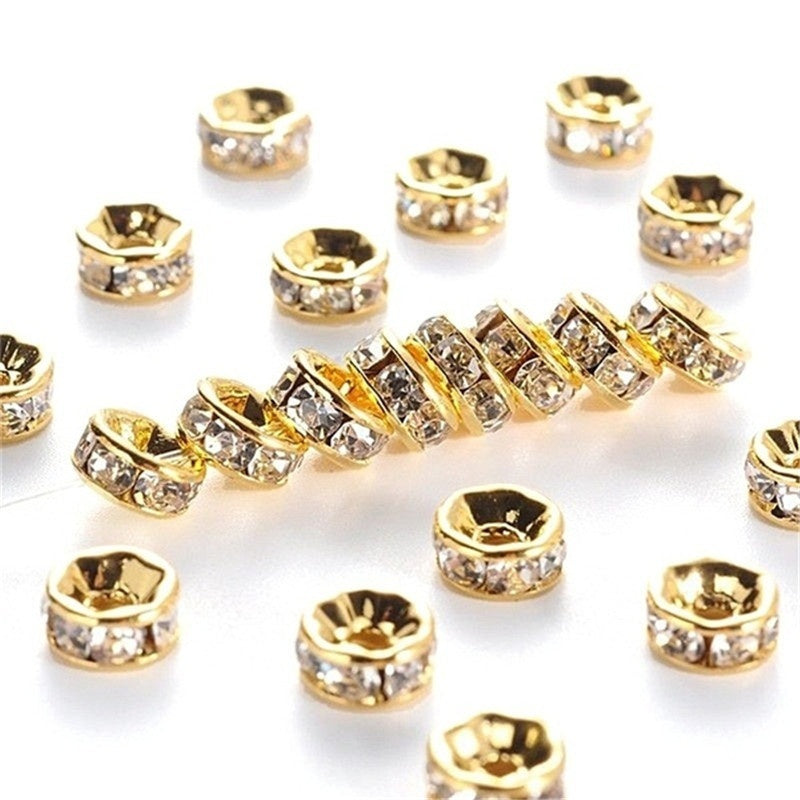 1000/500/100pcs Silver Gold Crystal Rhinestone Rondelle Spacer Beads DIY 6mm 8mm Chic