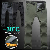 Fashion Men/Women Winter Outdoor Waterproof Trekking Fleece Warm Trousers Climbing Fishing Hiking Pants Long Pants Plus Size S-3XL