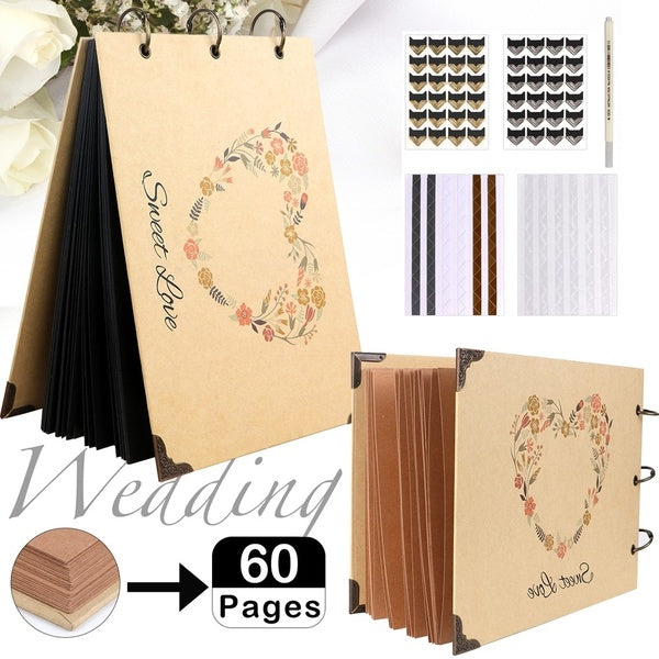 Party88 60 Pages Rustic Sweet Wedding Guest Book DIY Wedding Photo Album Kraft Paper Guest Book Anniversary Travel Memory Book
