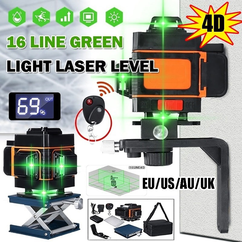 New 4D 16 Lines/3D 12 Lines Green Light Laser Level Auto Self Leveling 360¡ã Rotary Measure Cross