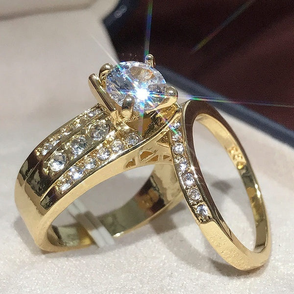 Exquisite Women 18k Gold Ring Natural Gemstone Sparkling Diamond Ring Women Bride Engagement Wedding Ring Size 5-10