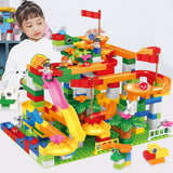 74-296 PCS Marble Race Run Maze Ball Track Building Blocks ABS Funnel Slide Assemble Bricks Compatible LegoINGlys Duplo Blocks
