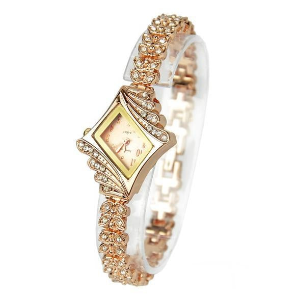 New Fashion Alloy Crystal Quartz Rhombus Bracelet Bangle Women's Wrist Watch