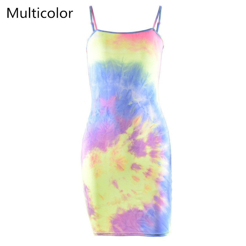 Dyeing Sleeveless Fluorescent Camouflage Strap Dress Mini Bodycon Dress for Party Cocktail Club Women's Clothing