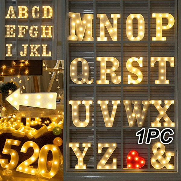 A-Z Alphabet 0-9 Number LED Letter Lights   & Light Up White Plastic Letters Standing Hanging Lamp Home Garden Decor Wedding Party Lights