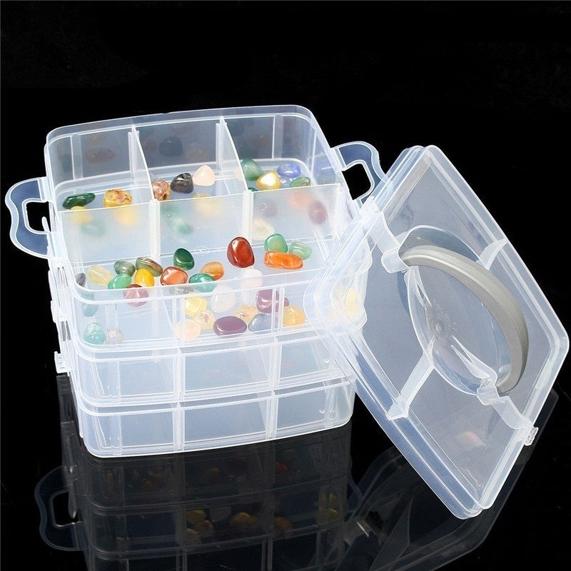 3-Layer Detachable Craft Beads Jewelry Storage Organizer Plastic Storage Case Tool Box Gadget Holder Container