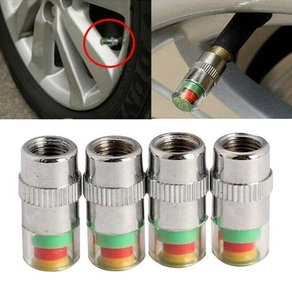 4 Pcs/Set Car Tire Valve Cap Tire Pressure Table Tire Gauge Tire Pressure Monitoring Warning Cap